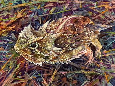 Painting - Horned Toad by Hailey E Herrera
