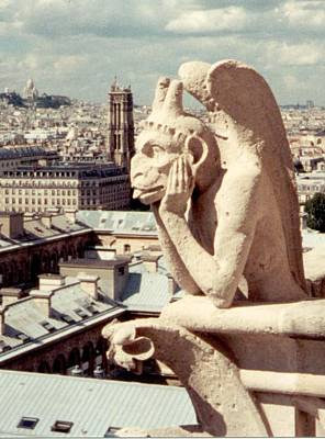 Photograph - Horned Winged Monkey Gargoyle Of Notre Dame by Christopher Kirby