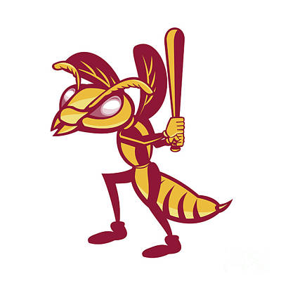 Wasp.insect Digital Art - Hornet Baseball Player Batting Isolated Retro by Aloysius Patrimonio