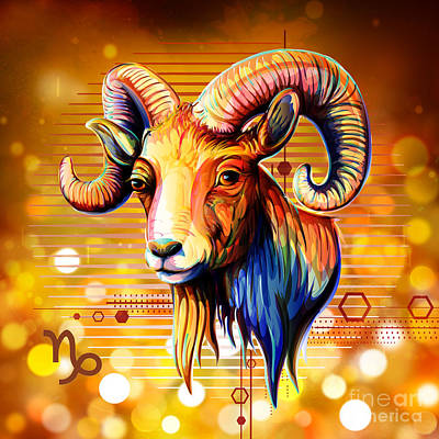 Zodiac Digital Art - Horoscope Signs-capricorn by Bedros Awak