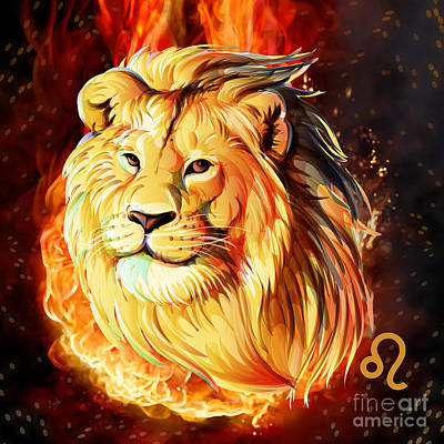Zodiac Digital Art - Horoscope Signs-leo by Bedros Awak