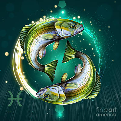 Decorative Fish Mixed Media - Horoscope Signs-pisces by Bedros Awak