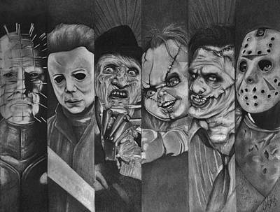 Nightmare On Elm Street Drawing - Horror Greats by Amber Folliett
