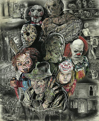 Clown Drawing - Horror Movie Murderers by Daniel Ayala