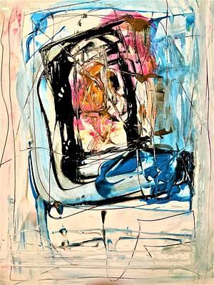 Horror On Blue Tv Art Print by Dr Ernest Williamson III