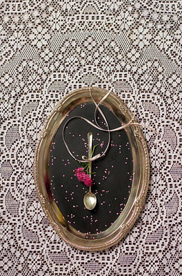 Photograph - Hors D'oeuvre Spoon On A Silver Tray by Eleanor Caputo