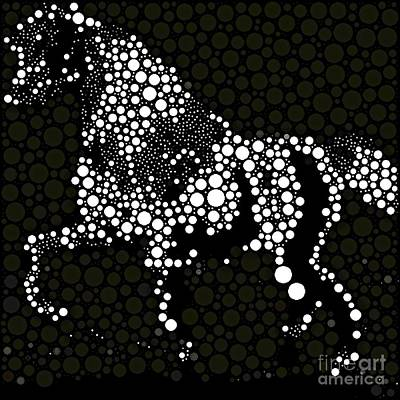 Painting - Horse Abstract Black And White by Saundra Myles