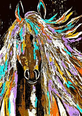 Painting - Horse Abstract Brown And Blue by Saundra Myles
