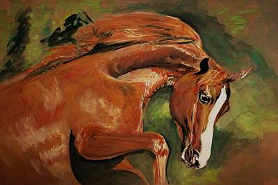Painting - Horse Action by Khalid Saeed