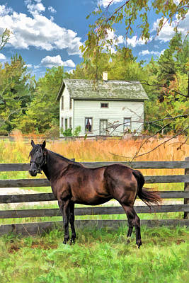 Old World Painting - Horse And Barn At Old World Wisconsin by Christopher Arndt