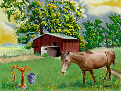 Painting - Horse And Barn by Dale Turner