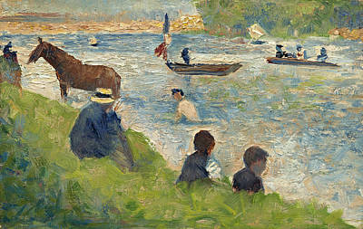 Georges Seurat Painting - Horse And Boats. Study For Bathers At Asnieres by Georges Seurat