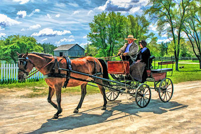 Old World Painting - Horse And Buggy At Old World Wisconsin by Christopher Arndt