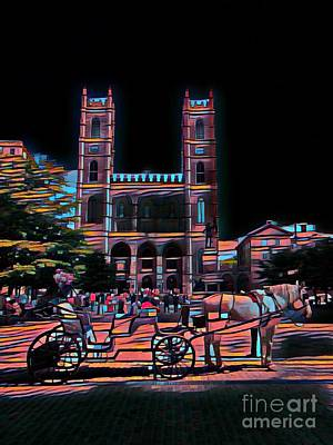 Montreal Mixed Media - Horse And Carriage At Notre Dame Cathedral by John Malone