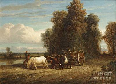 Horse Painting - Horse And Carriage by Celestial Images