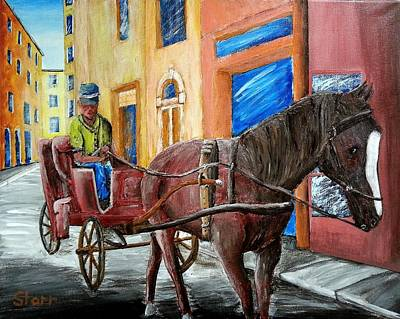 Horse And Carriage In Florence Original by Irving Starr