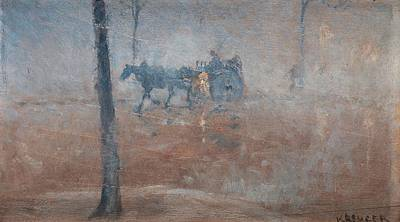 Horse In Forest Painting - Horse And Carriage In Rain by MotionAge Designs