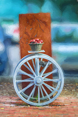 Digital Art - Horse And Carriage With Apples by John Haldane