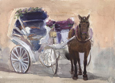 Horse And Carriage With Sleeping Driver Original by Walter Lynn Mosley