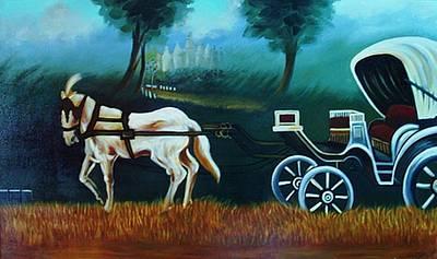 Horse And Carriage Art Print by Xafira Mendonsa