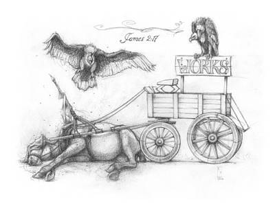 Vulture Drawing - Horse And Cart 3 by Ryan Flanders