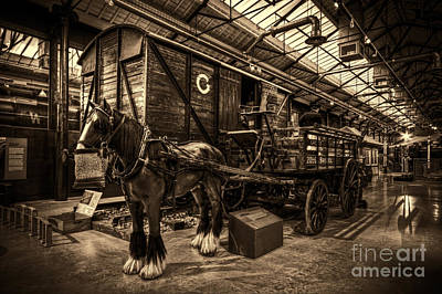 Horse And Cart Loading Train Print by Clare Bambers