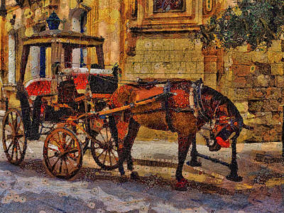 Digital Art - Horse And Coach, M'dina, Malta by Leigh Kemp