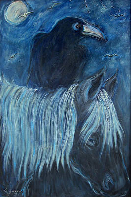 Painting - Horse And Crow by Katt Yanda