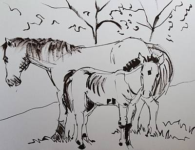 Drawing - Horse And Foal On Dartmoor Drawing by Mike Jory