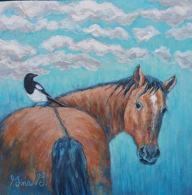Painting - Horse And Magpie by Gina Grundemann