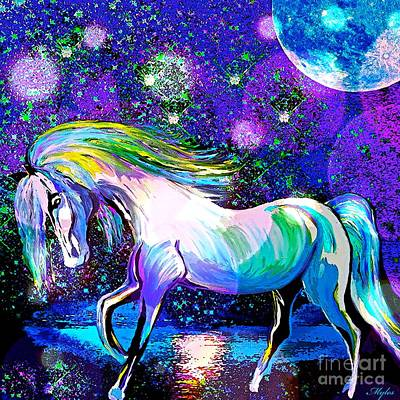 Painting - Horse And Moonlight by Saundra Myles