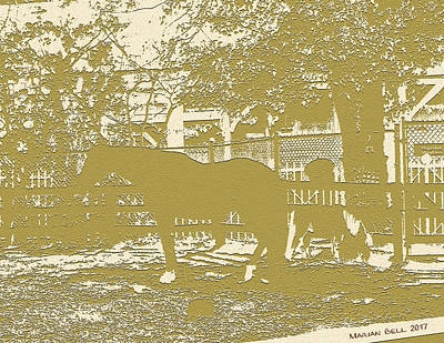Horse And Pony Show In Sepia Art Print