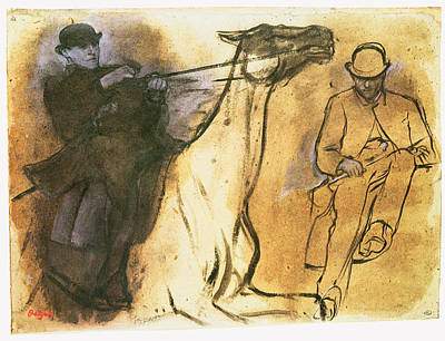 Charcoal Horse Drawing - Horse And Rider by Edgar Degas