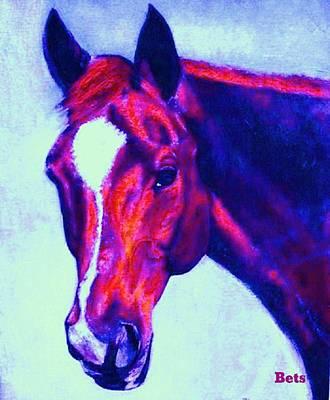 Horse Portrait Painting - Horse Art Horse Portrait Maduro Psychedelic by Bets Klieger