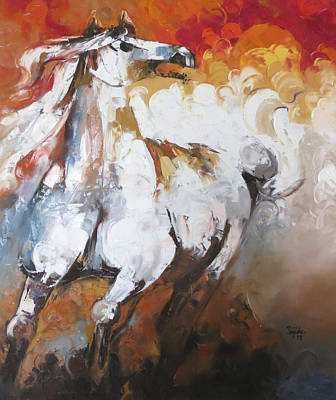 Abstract Painting - Horse Art Painting Print by Sajida Hussain