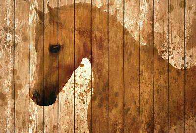 Horse Barn Door Rustic Art Print