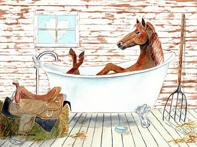 Painting - Horse Bath by LeAnne Sowa