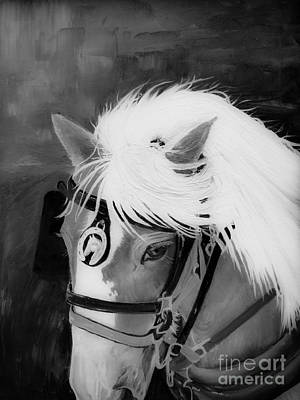 Painting - Amos- Black And White Horse - Adam's Rib by Jan Dappen