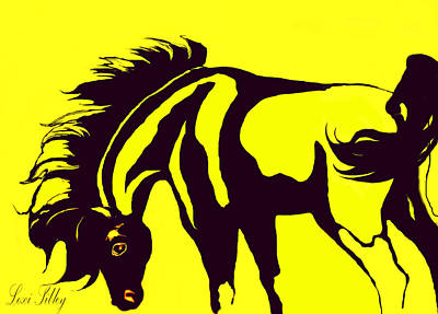 Horse-black And Yellow Art Print by Loxi Sibley