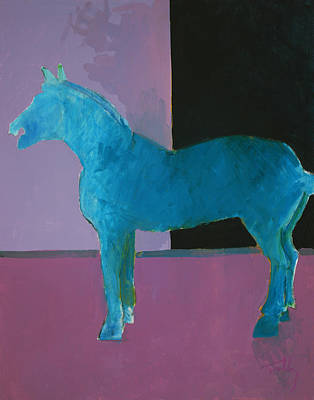 Painting - Horse, Blue On Lavender by Thomas Tribby