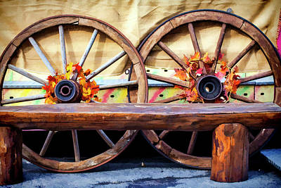 Old Wooden Wagon Painting - Horse Carrying Cart Wooden Wheels by Sezer Akdeniz