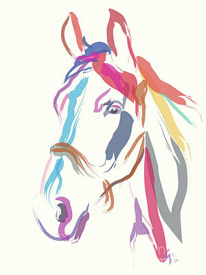 Painting - Horse Colour Me Beautiful In Ecru by Go Van Kampen