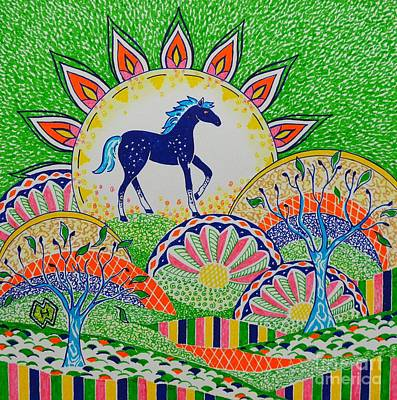 Colorful Abstract Drawing - Horse Design Drawing No.1 by Heather McFarlane-Watson