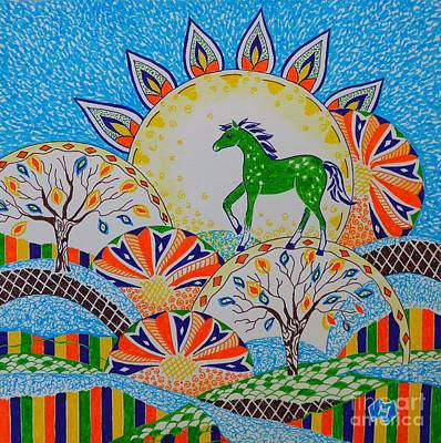 Colorful Abstract Drawing - Horse Design Drawing No.3 by Heather McFarlane-Watson