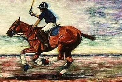 Sporting Art Painting - Horse Down The Field Polo Painting by Bets Klieger