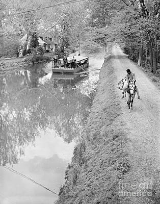 Photograph - Horse-drawn Canal Boat, C.1960s by G Hampfler and ClassicStock