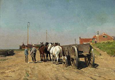 Horse-drawn Carriage With Barrow On A Sandy Road Art Print by Frans Van Leemputten