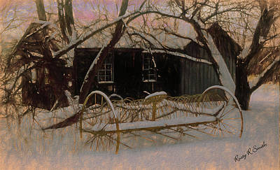 Digital Art - Horse Drawn Dump Hay Rake In Winter Scene. by Rusty R Smith
