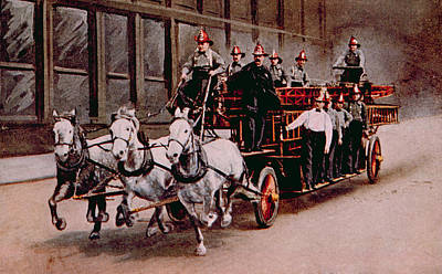 Horse-drawn Fire Engine On The Way Print by Everett
