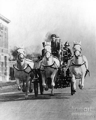 Wagon Wheels Photograph - Horse-drawn Fire Truck, C. 1890s-1900s by H. Armstrong Roberts/ClassicStock